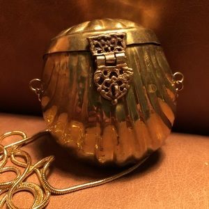 Mini brass vintage evening bag Festival w velvet